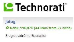 Référencement du blog sur technorati